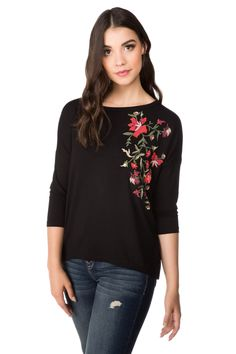 Floral Screen Top with 3/4 Sleeves