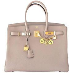 Pre-owned Hermes Gris Tourterelle 35cm Dove Grey Togo Birkin Gold Ghw... (82,645 AED) ❤ liked on Polyvore featuring bags, handbags, tote bags, grey, gray tote bag, summer handbags, gray tote, gold purse and grey tote