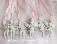 6 French shabby angel hang tags cherub ornaments chic Rococo