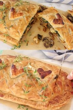 Vegan Mushroom Wellington recipe stuffed with spinach, caramelized leeks, Beyond Italian sausage and plant-based smoked gouda. Vegan Dinner Recipes, Veggie Recipes, Veggie Food, Vegan Vegetarian, Vegetarian Recipes, Healthy Recipes, Wellington Food, Chocolate Slim, Orange Recipes