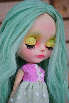 OOAK Custom Factory Blythe Doll  With Long Minty by MissFreyaJ