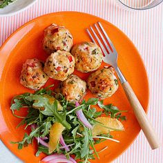 Baked Swordfish Meatballs - Everyday with Rachael Ray - I like swordfish, but will I like it in meatballs? Steak Dishes, Fish Dishes, Seafood Dishes, Fish And Seafood, Seafood Recipes, Dinner Recipes, Main Dishes, Seafood Meals, Baked Swordfish