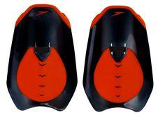 New! Speedo Fastskin Hand Paddle Black/Siren Red 8-10868b441 Pullbuoys