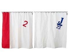 Recycled sail shower curtains from Spinnaker, at Uncommon Goods. So awesome #shower_curtain #bathroom $120