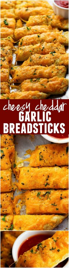 Quick and Easy Cheesy Garlic Breadsticks. and Pizza Dough 😊 these are AMAZING and you won't be able to get enough! Side Dish Recipes, New Recipes, Whole Food Recipes, Dinner Recipes, Cooking Recipes, Favorite Recipes, Drink Recipes, Vegetarian Recipes, Scones