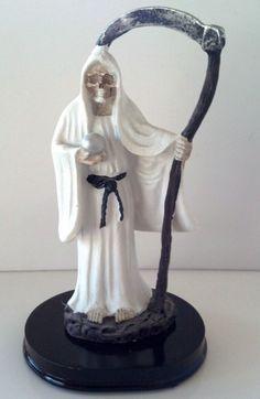 5 Inch Statue Santa Muerte Blanca White Holy Death Grim Reaper Skull Skeleton