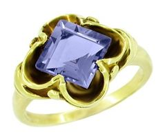 Victorian Emerald Cut Iolite Ring in 14 Karat Yellow Gold - Item R327 - Iolite is a natural gemstone with a tanzanite like color, a unique February birthstone choice. This yellow gold victorian square stone setting is the perfect frame for this gorgeous iolite stone. - http://www.antiquejewelrymall.com/r327.html