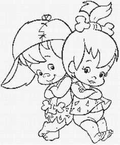 Coloring pages of the Flintstones characters Bamm-Bamm Rubble and Pebbles posing for a photo. Disney Coloring Pages, Coloring Pages To Print, Coloring Book Pages, Printable Coloring Pages, Coloring Pages For Kids, Coloring Sheets, Cartoon Coloring Pages, Kids Coloring, Pebbles And Bam Bam