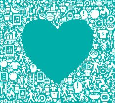 Heart Fitness and Diet Icon Pattern vector art illustration
