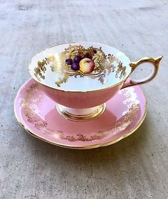 Aynsley Vintage Pink Fruit And Gold England Bone China Tea Cup & Saucer