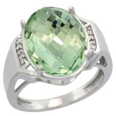 $251.71 USD, Sterling Silver Diamond Natural Green Amethyst Ring by WorldJewels