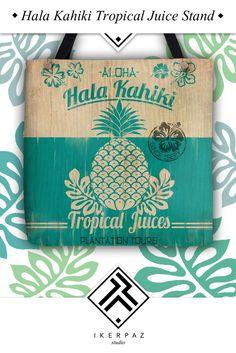 Hala Kahiki Tropical Juice Stand board tote bag. Illustration by Iker Paz.