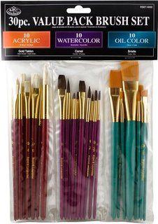 30 PC Paint Brush Set Value Acrylic Watercolor Oils Royal Langnickel for sale online Oil Paint Brushes, Paint Brush Art, Acrylic Brushes, Poses References, Artist Brush, Cute School Supplies, Painting Tools, Tole Painting, Paint Set