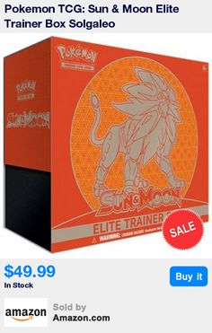 Pokemon TCG: Sun & Moon Elite Trainer Box Solgaleo * In each Sun & Moon Elite Trainer Box you will receive 8 Pokémon TCG: Sun & Moon booster packs, 65 card sleeves featuring Solgaleo, and 45 Pokémon TCG Energy cards * This also comes with a player's guide to the Sun & Moon expansion and a collector's box to hold everything, with 4 dividers to keep it organized * You will also receive 6 damage-counter dice, 1 competition-legal coin-flip die, and 2 acrylic condition markers * This also…