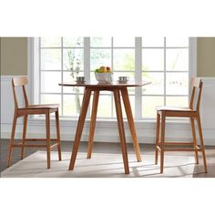 Greenington Currant Piece Dining Table Set In Classic Bamboo - Mid century modern pub table