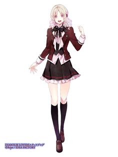 Moe Anime, Anime Chibi, Kawaii Anime, Anime School Girl, Anime Art Girl, Diabolik Lovers, Female Characters, Anime Characters, Ayato Sakamaki