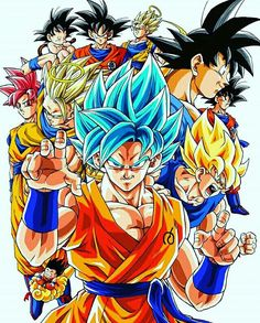 Goku's transformations throughout his life.