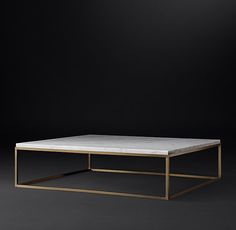 RH's Nicholas Marble Square Coffee Table:Pairing marble's luminous warmth with metal's cool luster, this table designed by the Van Thiels is a study in complementary contrasts. Inspired by a 1960s French original, it is a striking surface for display.