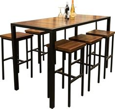 Amish West Lake Dining Pub Set shown in White Oak with a Rosewood Stain and Black Steel Frame The West Lake offers a chic contemporary look. Enjoy outdoor dining at this attractive set that's pub style, and built to perfection. Outdoor Dining Furniture, Dining Table Chairs, Dining Set, Pub Set, Table Dimensions, West Lake, White Oak, Furniture Collection, Amish