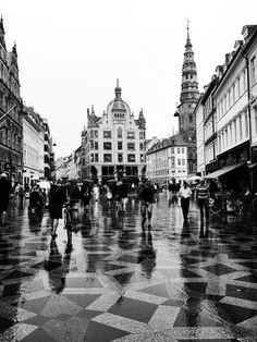 Strøget - Copenhagen - on a rainy day Copenhagen, Denmark #copenhagen #denmark #københavn