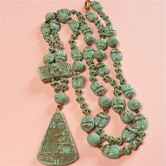 Stunning Vintage ART Deco Czech Neiger Brothers Egyptian Mummy Scarab Necklace   eBay