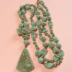 Stunning Vintage ART Deco Czech Neiger Brothers Egyptian Mummy Scarab Necklace | eBay