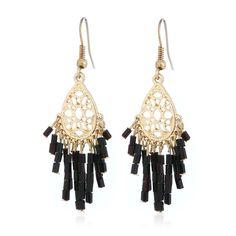 Fashion Vintage Black White Acrylic Ethnic Drop Earrings Hollow Tassel Statement Bohemian Earring For Women Girl