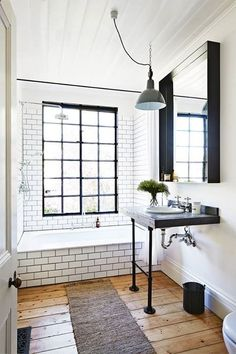 subway tiles feature, repurposed desk for vanity