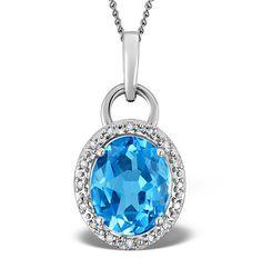 Blue Topaz 2.96CT And Diamond 9K White Gold Pendant