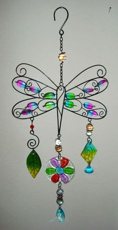 Metal Glass Plastic Beaded Dragonfly Suncatcher Outdoor Safe New | eBay