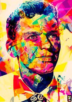 Personal interpretation of Frank Sinatra  illustration, portrait, colors, abstract colors, abstract, Frank Sinatra, sinatra, voice, the voice
