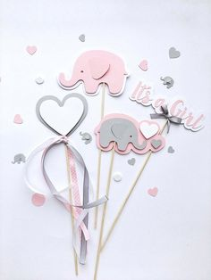 Set of 4pcs Pink Gray Elephant Centerpieces Girl Baby Shower Centerpiece Elephant Its a Girl Sticks