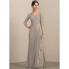 JJsHouse A-Line V-neck Floor-Length Chiffon Lace Mother of the Bride Dress With Beading A-Line V-neck Floor-Length Beading Zipper Up Sleeves Sleeves No Taupe General Plus Chiffon Lace Mother of the Bride Dress Dress Brokat, Kebaya Dress, Mother Of The Bride Dresses Long, Mothers Dresses, Bride Groom Dress, Bride Gowns, Mob Dresses, Fashion Dresses, Bridesmaid Dresses