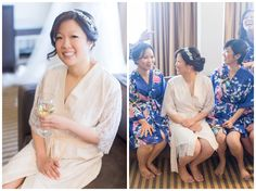 Bride in bridal robe getting ready with bridesmaids matching robes | Casa Real at Ruby Hill Winery Wedding - Pleasanton Wedding Photographer - Zi&Jasmine - Chico California Wedding Photography and Videography by Chico Photographer Videographer Couple TréCreative