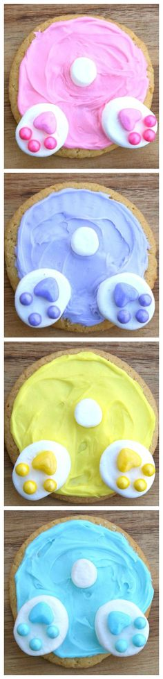Bunny Butt Cookies ~ Adorable, cute and easy to make for Easter... You can make these with any colors you would like or even leave out the coloring and use white frosting.
