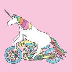 A unicorn on a motorcycle, of course!