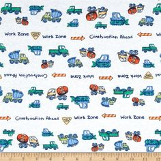 Juvenile Cotton Knits Trucks Multi from @fabricdotcom  This cotton jersey knit fabric has a soft hand and about 25% stretch across the grain. This versatile fabric is perfect for creating kids' apparel and T-shirts.