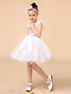 A-line Pink Square Neck Knee-Length Bow Girls Pageant Dress #milanoo