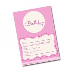 printable pink girls birthday party invitation