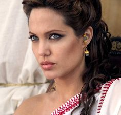 Angelina Jolie Olympias Dark Culred Greek Hairstyle