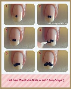 moustache nails : )Things Required : Transparent Nail Polish, Pale Pink Nail Paint, Dotting Tool (Bobby pin would do), Black Polish and Toothpick ; Nail Art Moustache, Movember Mustache, Cute Nails, Pretty Nails, Do It Yourself Nails, Diy Love, Les Nails, Uñas Fashion, Fashion Beauty