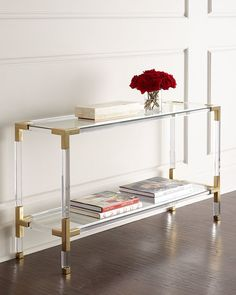 Shop Jacques Lucite & Brass Console from Jonathan Adler at Horchow, where you'll find new lower shipping on hundreds of home furnishings and gifts. Lucite Furniture, Acrylic Furniture, Glass Furniture, Living Room Furniture, Living Room Decor, Home Furniture, Furniture Ideas, Furniture Storage, Modern Furniture