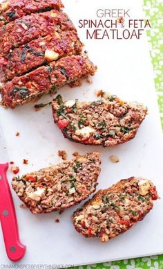 Greek Spinach and Feta Meatloaf. Sub ground beef for ground turkey Meat Recipes, Cooking Recipes, Healthy Recipes, Frozen Spinach Recipes, Healthy Greek Recipes, Sirloin Recipes, Kabob Recipes, Fondue Recipes, Meatball Recipes