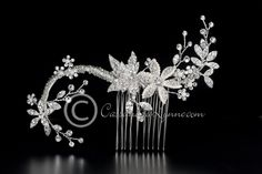 Bridal Hair Comb of Seed Bead & Rhinestone Flowers http://cassandralynne.com/collections/bridal-hair-combs/products/bridal-hair-comb-of-seed-bead-rhinestone-flowers#