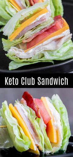 Keto Lunch Ideas, Lunch Recipes, Low Carb Recipes, Diet Recipes, Club Sandwich Recipes, Easy Healthy Lunch Ideas, Turkey Club Sandwich, Salad Recipes, Healthy Sandwich Recipes