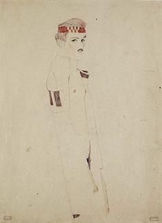 Egon Schiele   Selbstakt mit rotem stirnband
