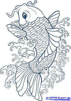 drawing koi fish- connect to study of Japan and Japanese gardens