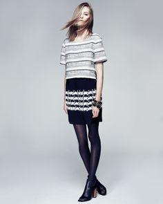 Thakoon Addition Short-Sleeve Combo Double-Layer Dress