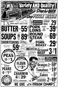 Piggly Wiggly Ad - Looks like they needed GAMMS Sauce back then with those prices.