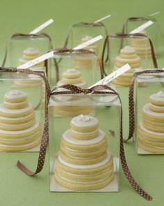 Basic sugar cookies become elegant favors when stacked to resemble miniature wedding cakes